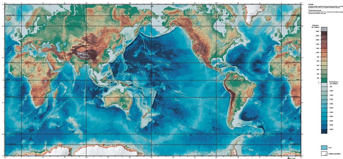 Carte des fonds marins océaniques