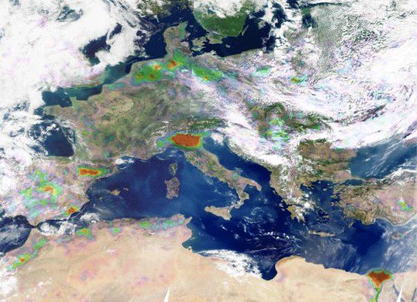 Carte des sources d'ammoniac en Europe