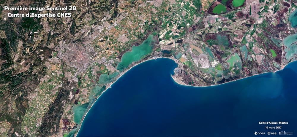 Première image de Sentinel 2-B : Le golfe d'Aigues Mortes