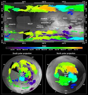 Cartes globales des détections de nuages par VIMS durant la période de juillet 2004 à décembre 2007, présentées en projection cylindrique et en projection polaire - Crédit : NASA/JPL/Université d'Arizona/Université de Nantes