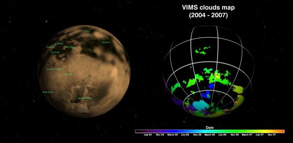 A gauche : carte de surface de Titan (réalisée par la caméra ISS de Cassini). A droite : carte globale de détection des nuages de Titan par VIMS Cassini - Crédit : NASA/JPL/Université d'Arizona/Université de Nantes