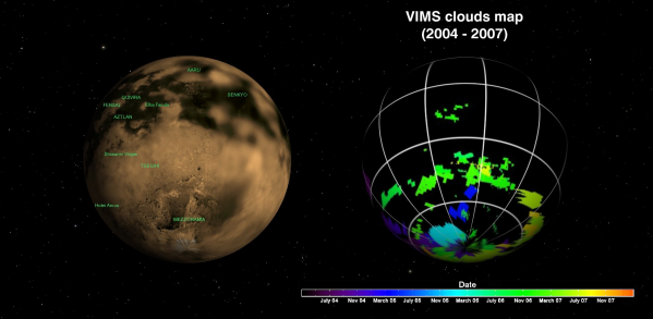 A gauche : carte de surface de Titan (réalisée par la caméra ISS de Cassini). A droite : carte globale de détection des nuages de Titan par VIMS Cassini - Crédit : NASA/JPL/Université d'Arizona/Université de Nantes
