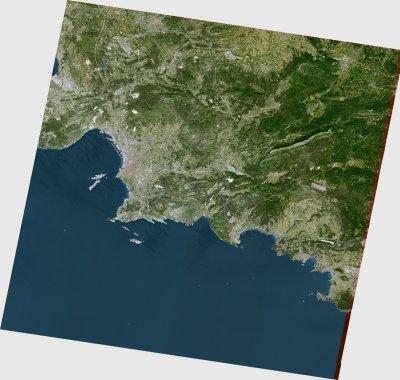 L'une des dernières images prises par Spot 2 : Marseille en couleurs naturelles en juin 2009 - Crédit : CNES