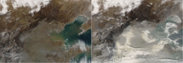Pollution en Chine vue par IASI sur MODIS