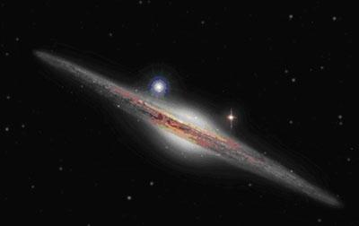 Vue d'artiste de la galaxie HLX-1 - crédit : ESA