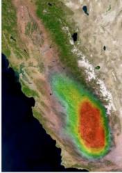 Distributions d'ammoniac en 2008 au dessus de la San Joachin valley (Californie).