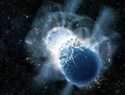 Vue d'artiste d'une collision d'étoiles à neutrons