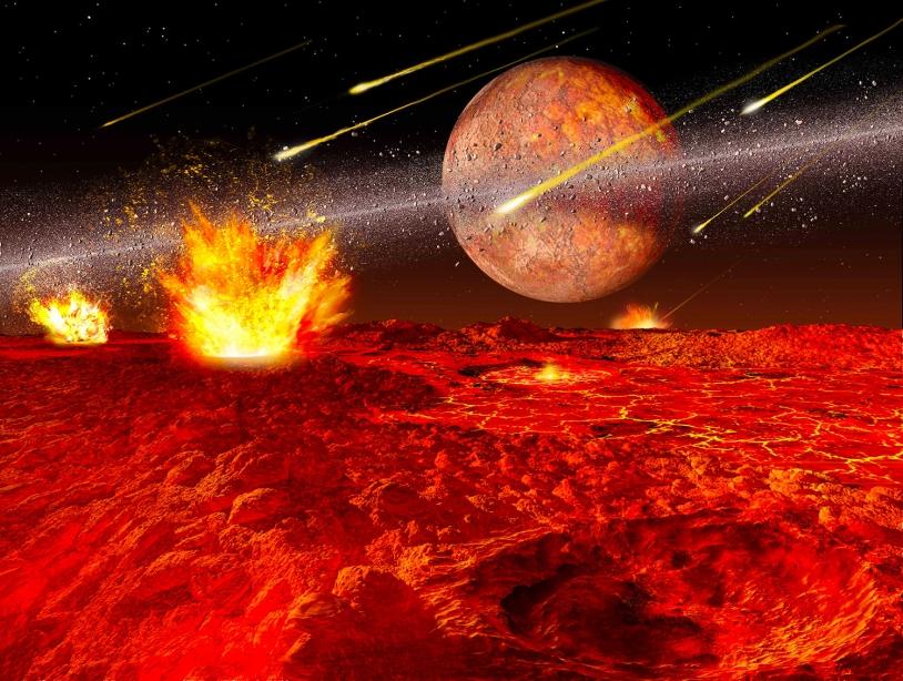 Représentation d'artiste du grand bombardement tardif sur la Lune