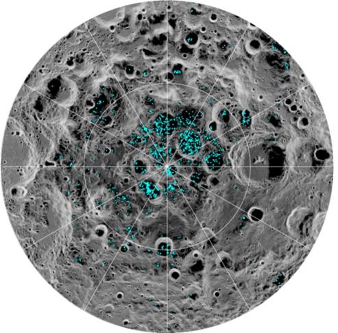 Localisation de la glace d'eau au pôle Sud de la Lune