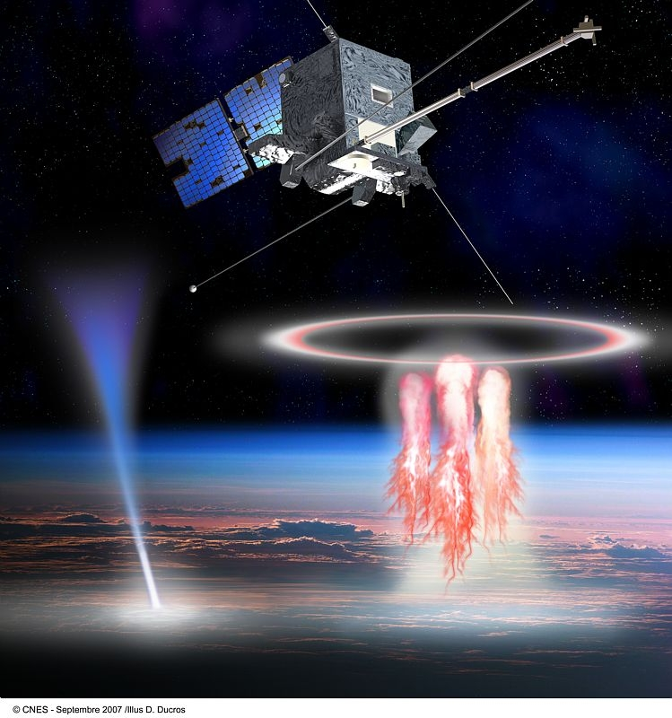 TARANIS observera les « elfes » dans la haute atmosphère terrestre. Crédits : CNES/Ill. D. Ducros.