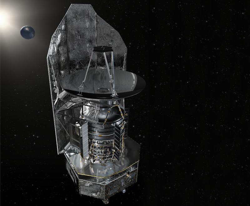 Le téléscope spatial Herschel observe l'Univers lointain au point de Lagrange L2, à 1,5 millions de km de la Terre. Crédits : ESA.