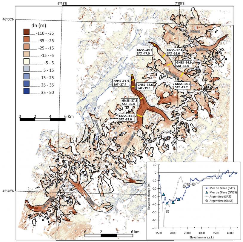 Carte des variations d'altitude des glaciers du massif du Mont Blanc