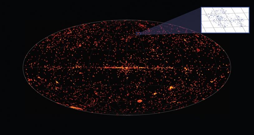 Carte du ciel actuelle montrant les sources de rayons X, cartograhiées par le satellite XMM-Newton. Crédits : ESA/XMM-Newton/EPIC/M. Watson (University of Leicester).
