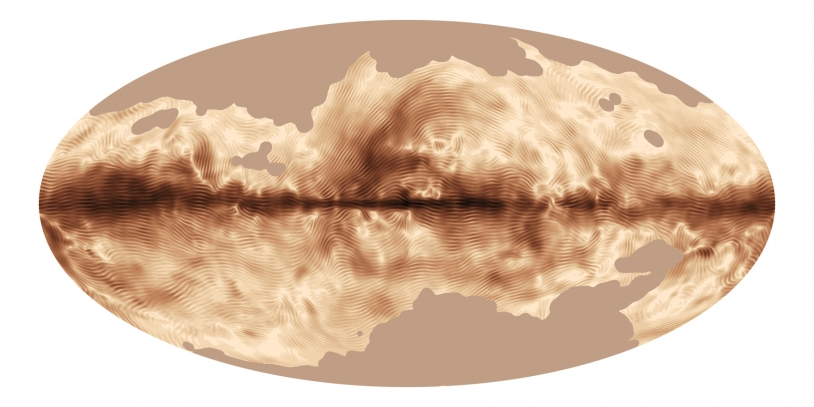 Le champ magnétique de la Voie Lactée vu par Planck. Les régions les plus sombres correspondent à une émission polarisée plus forte et les stries indiquent la direction du champ magnétique projeté sur le plan du ciel. Crédits : ESA - collabor...